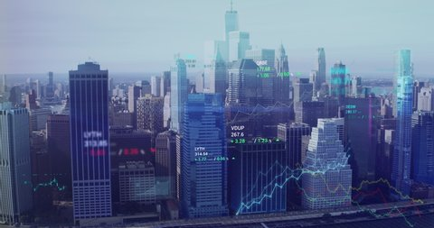 Incredible aerial view of New York City skyline coming to life with animated financial information related to stock market, stocks, trading, candlestick pattern, bear market, bull market, trading.