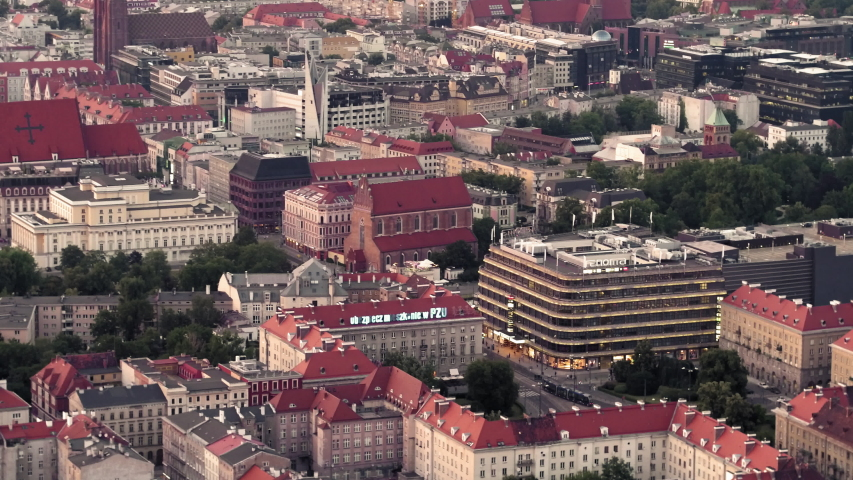 Drone footage of the red roofs in Wroc?aw. | Shutterstock HD Video #1029979967