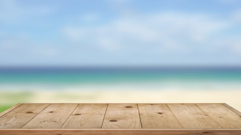 Wooden Table Texture In The Summer. On Beach Sea Blur Background.