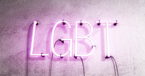 Pink flashing neon sign saying. the word LGBT in neon text flickering on a concrete  wall. LGBT stands for lesbian, gay, bisexual, and transgender.
