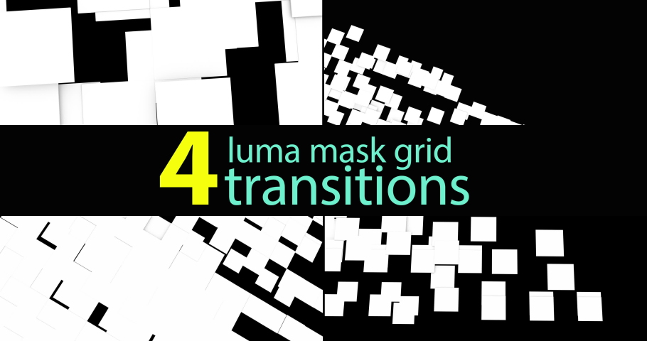 4 versions of luma mask transitions of squares fitting on a grid. 3d render of animated geometric abstract  texture for transitions. | Shutterstock HD Video #1030082687