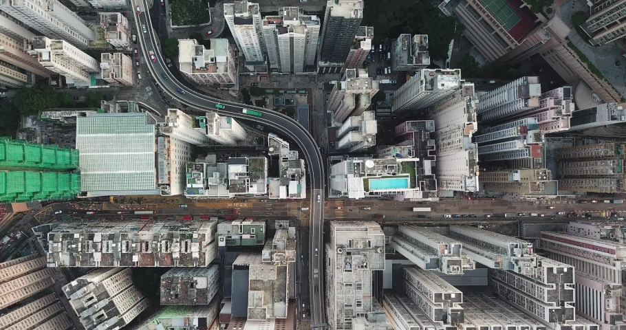 4K Aerial view of city, Drone stay on the sky and 90 degree point down and watching the traffic | Shutterstock HD Video #1030113467