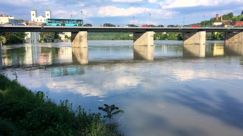 PASSAU - May 24th, 2019: Flood in Passau, Bavaria, Germany.