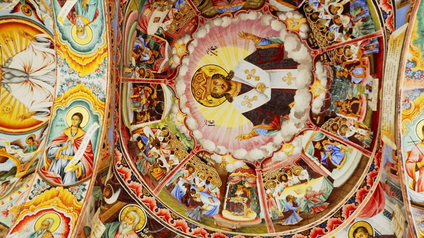 Interior of Rila Monastery - the largest and most famous Eastern Orthodox monastery in Bulgaria. Ceiling paintings, frescoes, biblical stories in pictures 4k