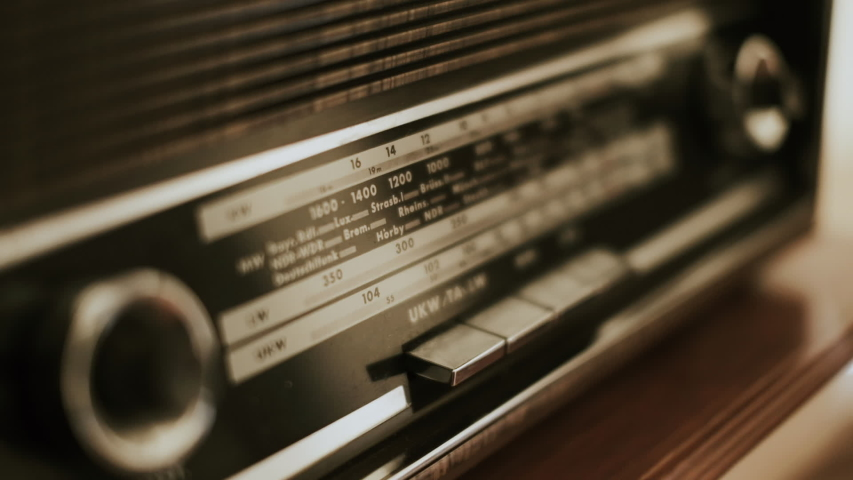 Front View Antique Black Radio. | Shutterstock HD Video #1030189247
