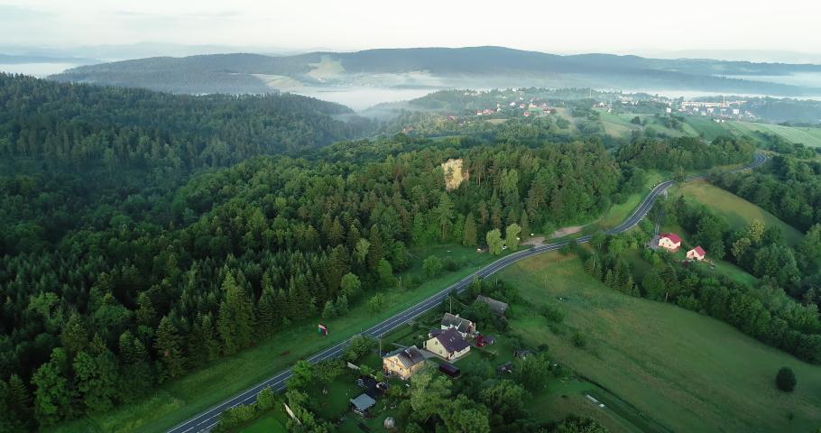 Drone footage of the Kamie Leski landscape. | Shutterstock HD Video #1030240217