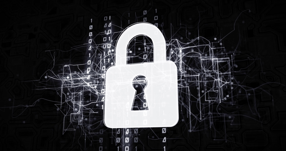 Padlock safety in virtual cyberspace network with binary code, futuristic technological projection as 4k animation detail | Shutterstock HD Video #1030242407