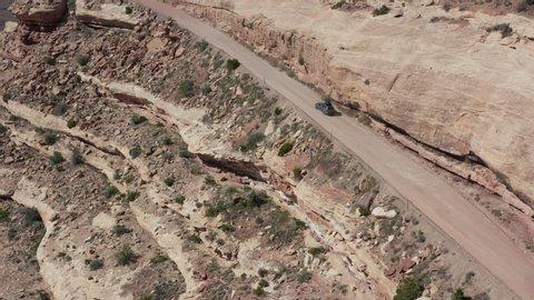 Driving up Moki Dugway near Bears Ears in southern Utah