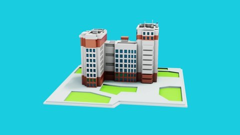 Turntable 3d animation of architectural residential complex concept design on blue background. Building visualization.