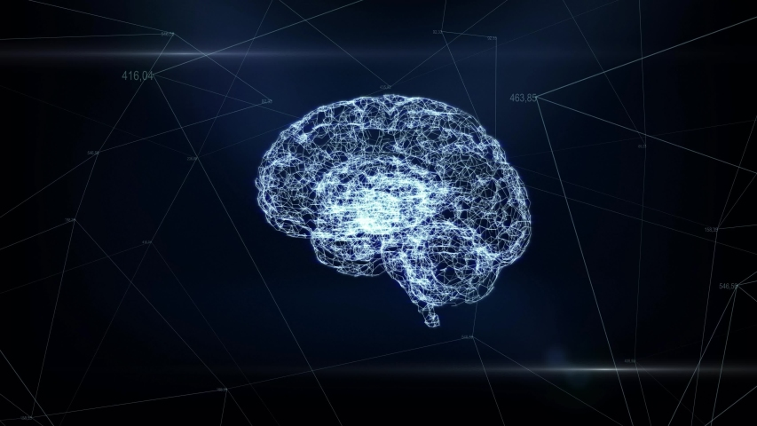 Digital animation of brain hologram. Holographic rendering brain. concept of business processes and communications, technology, connection #1030450517