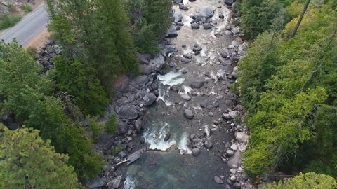 drone clip of Icicle Creek in Leavenworth Washington