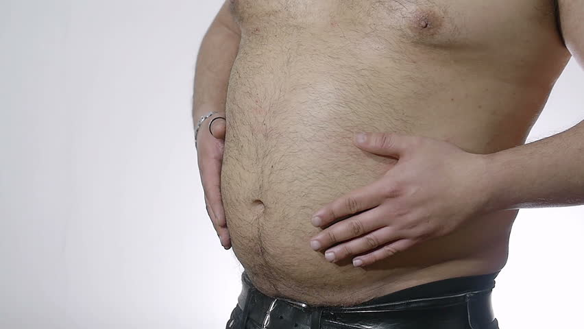 Fat Man Hitting His Belly Stock Footage Video 100 -5688
