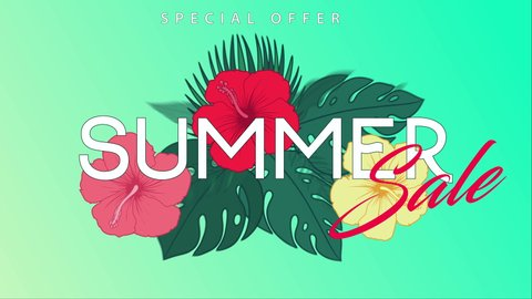 Summer sale vector animation. Simple Summer Sale typescipt with various jungle leaves and Hibiscus flower fading into frame. Up to 70% off. 4K video. For retail marketing promotion, advertising,