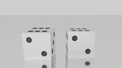 White dice roll towards camera, land on pair of sixes