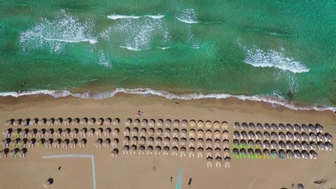 Aerial drone top view video of famous paradise sandy deep turquoise beach of Falasarna in North West Crete island, Greece