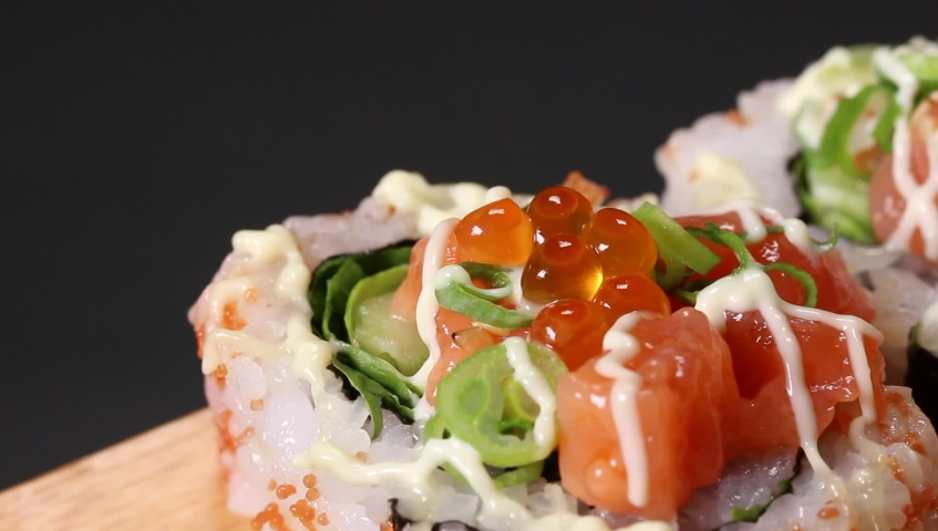 Japanese Seafood roll Close up   Shutterstock HD Video #1030921217
