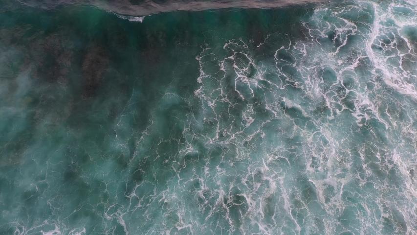 Aerial footage of the ocean surf. South of Bali - Bukit. #1031006717