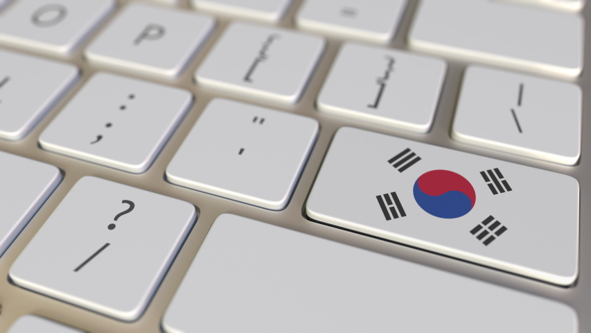 Key with flag of South Korea on the keyboard switches to key with flag of Germany, translation or relocation related animation | Shutterstock HD Video #1031162027