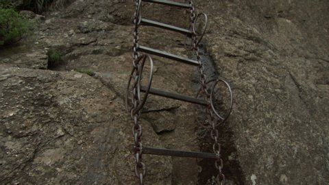 Chain ladder on a cliff face in the Drakensberg