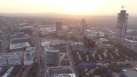 The Sandton CBD at sunset