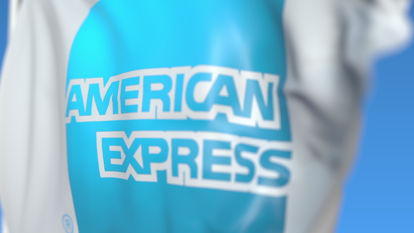 Waving flag with American Express logo, close-up. Editorial loopable 3D animation | Shutterstock HD Video #1031240417