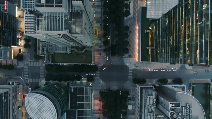 Suzhou, China - June 12, 2019: Aerial over modern business office buildings, skyscrapers, financial district, cityscape with downtown buildings at sunset. | Shutterstock HD Video #1031295737