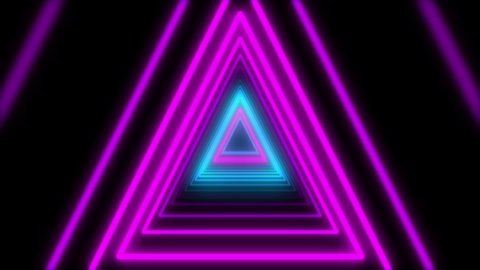 Abstract Lights Neon Triangles Loop Animation