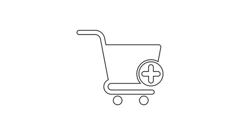 Black Add to Shopping cart line icon on white background. Online buying concept. Delivery service sign. Supermarket basket symbol. 4K Video motion graphic animation
