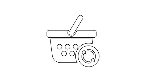 Black Refresh shopping basket line icon on white background. Online buying concept. Delivery service sign. Update supermarket basket. 4K Video motion graphic animation