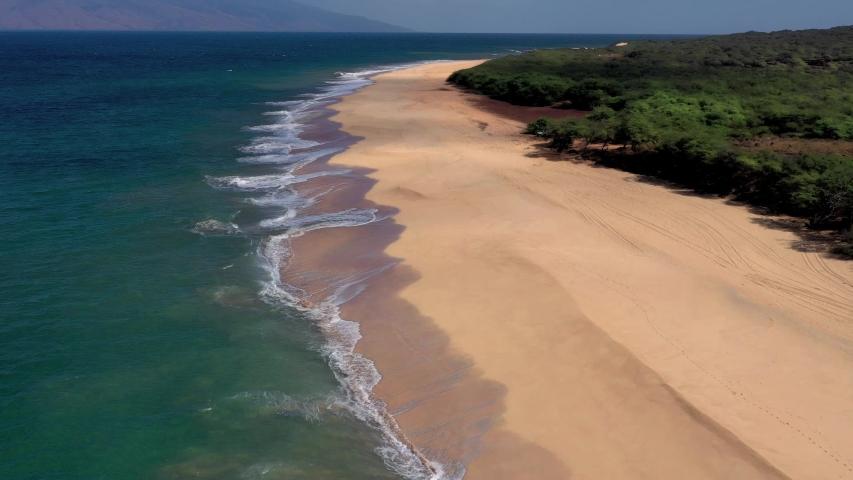 POLIHUA, LANAI, HAWAII - CIRCA 2018 - Beautiful aerial over an isolated beach or coastline in Polihua, Lanai, Hawaii.