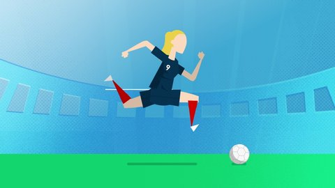 France female world cup soccer player running with a ball in a stadium. Loopable clip in 4K with alpha channel to use player on different backgrounds