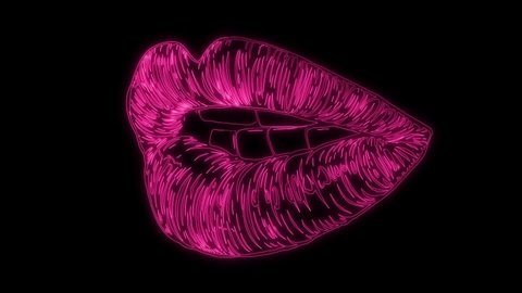 Female red lipstick kiss animation video