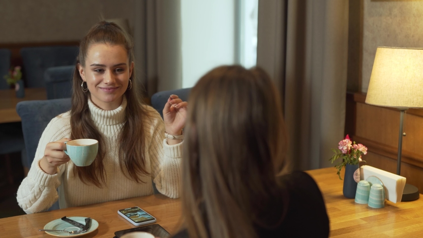 Two good-looking girls in cafe clink raised cups with tea, enjoying. Table lamp is turned on. | Shutterstock HD Video #1031749307