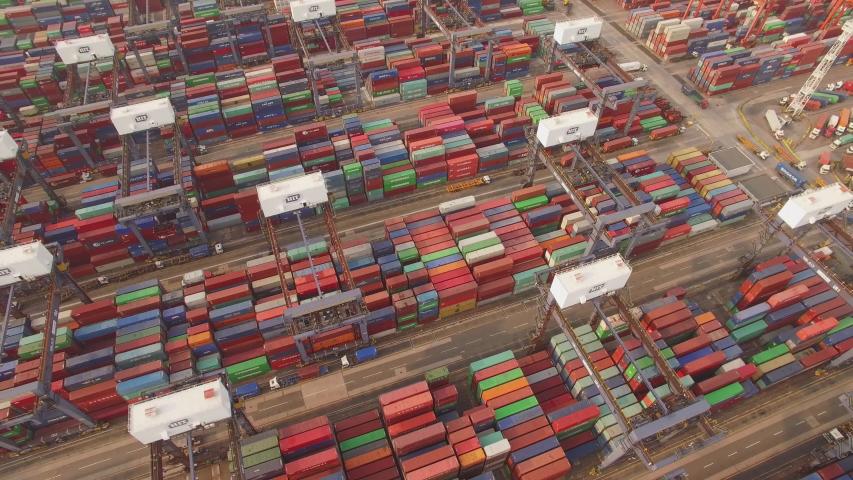 Hong Kong docks aerial shot | Shutterstock HD Video #1031819717