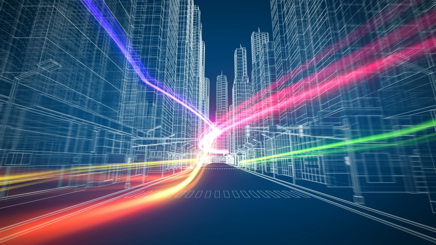 Colored Digital Streams Flying Through the Beautiful Modern Abstract City Grid Seamless. Digital and Technology Concept. Looped 3d Animation. 4k Ultra HD 3840x2160.  | Shutterstock HD Video #1032087827