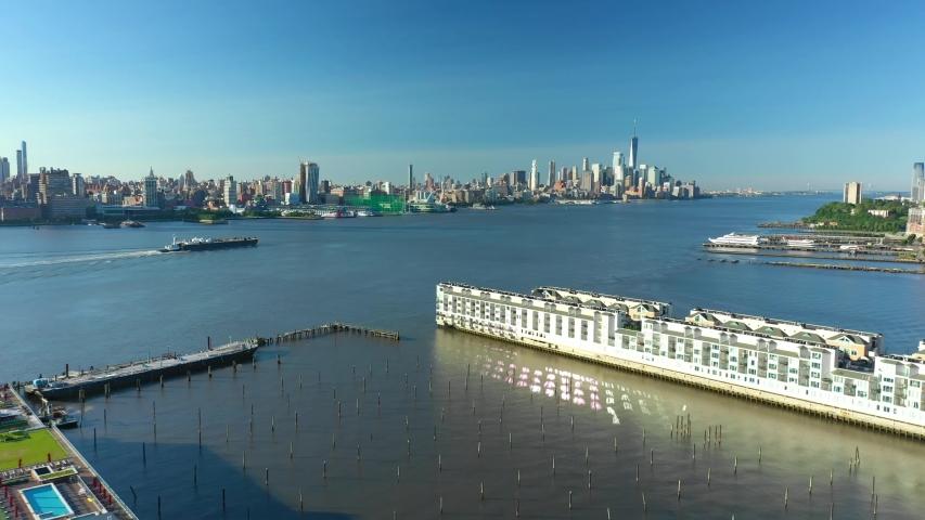 Aerial tour footage of New York City Manhattan 4k #1032150077