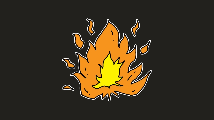 Animation fire burning, fire and stones, cartoon,… - Royalty