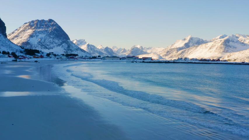 Winter Lofoten beach Ramberg at the time of sunset, north Norway  | Shutterstock HD Video #1032349517