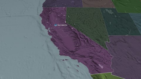 California - state of the united states zoomed on the administrative on political map of california, geological map of california, topo map of california, printable map of california, rand mcnally map of california,