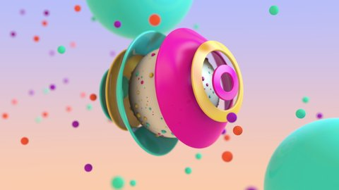 3D animation of abstract floating spheres and colorful pieces floating around it in bright colors. 4k 3D animation.