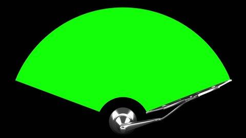 Windscreen wiper 4K, seamless loop, green screen
