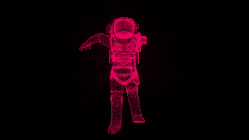 Astronaut in modern scaphandre from many small particles is in the space, 3d render background, computer generated backdrop | Shutterstock HD Video #1032708467