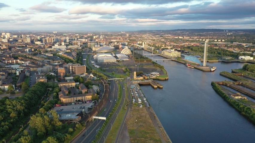Scotland Glasgow drone river cityscape | Shutterstock HD Video #1032768947