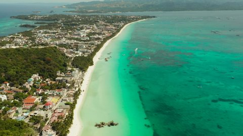 Aerial View Of Beautiful Bay In Tropical Island With White Sand Beach Boracay Philippines White Beach With Tourists And Hotels Tropical White Beach With Sailing Boat