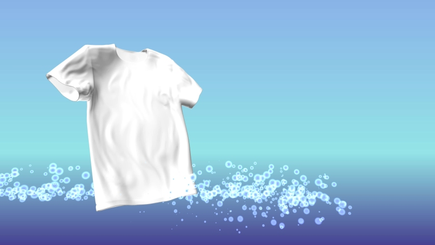 3d animation of cloth washing and whitening process. Gradient blue water bubbles fly around the t shirt and clean the fibers.  Background for ad of the laundry detergent, washing powder or bleach. | Shutterstock HD Video #1032878987