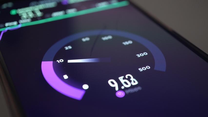 Testing Internet Speed Test, Smartphone Display Macro, 2019 #1032911477