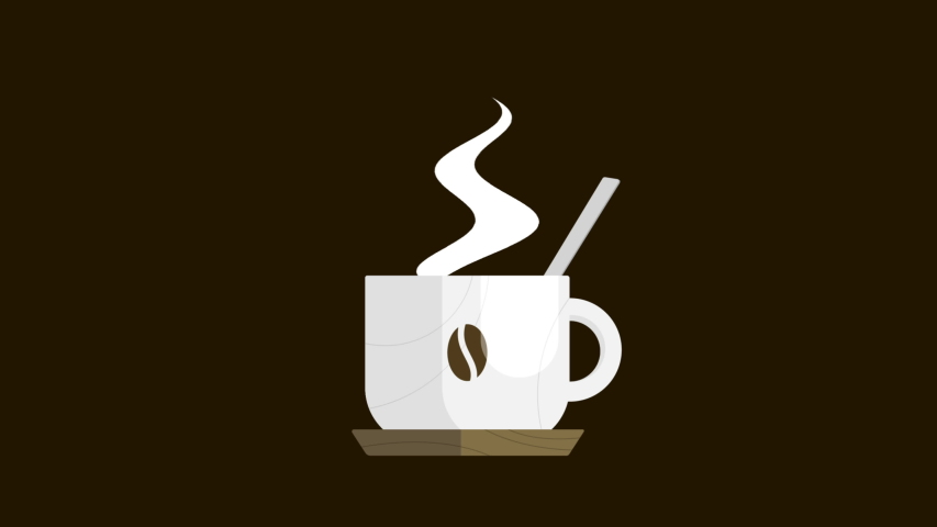 Cup of hot coffee with a spoon swirling inside,  isolated loopable clip in 4K with alpha channel to use on the background you want.