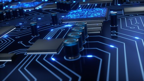 CPUs and other processors shoot bright blue electrons around a circuit board as the camera pans around the motherboard with a shallow depth of field. 4K animation