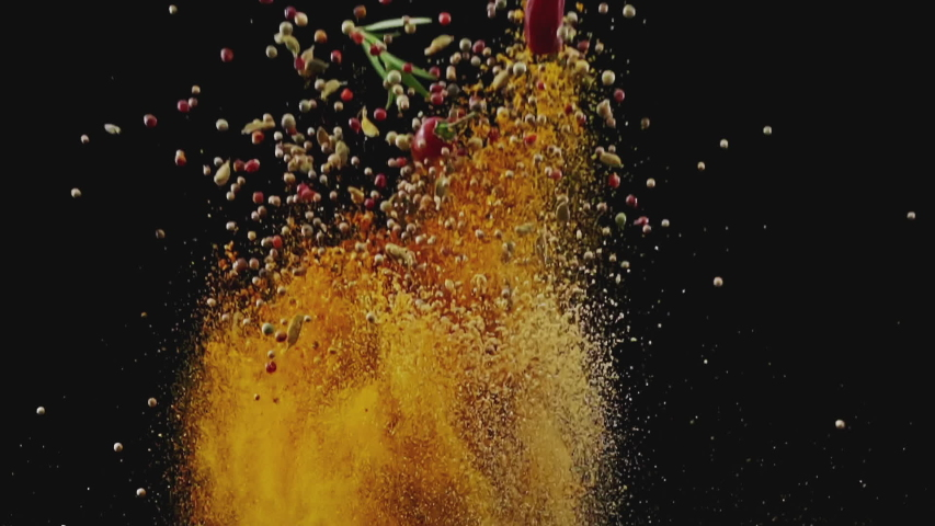 Exotic Spices  Flying up and Falling down in Slow Motion | Shutterstock HD Video #1033018427