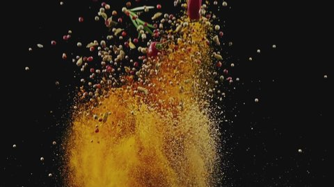 Exotic Spices  Flying up and Falling down in Slow Motion